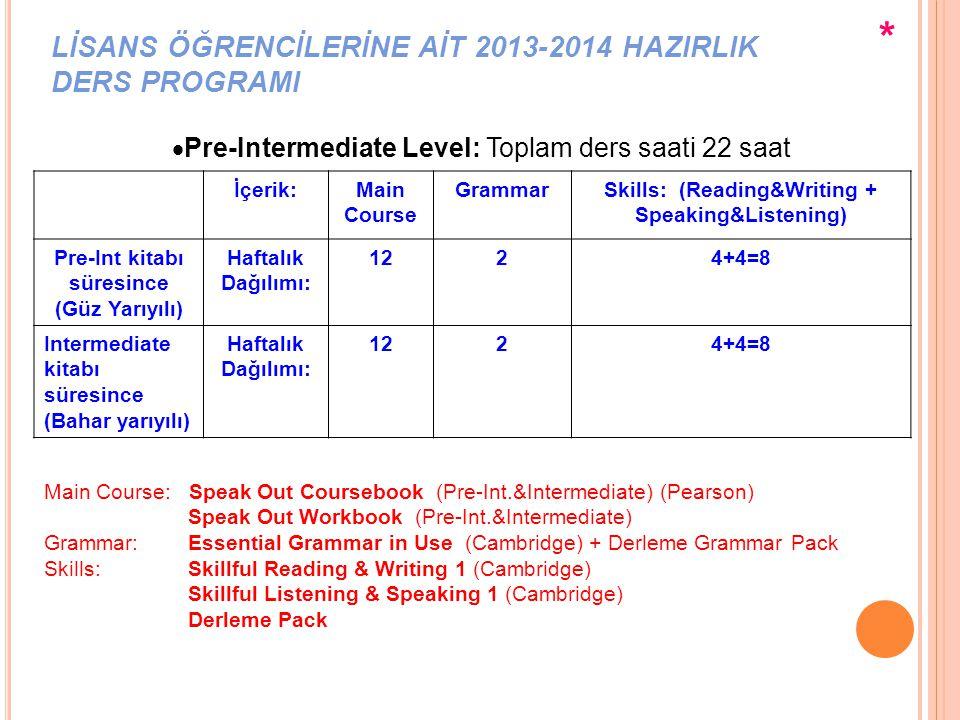 LİSANS ÖĞRENCİLERİNE AİT 2013-2014 HAZIRLIK DERS PROGRAMI  Pre-Intermediate Level: Toplam ders saati 22 saat İçerik:Main Course GrammarSkills: (Readi