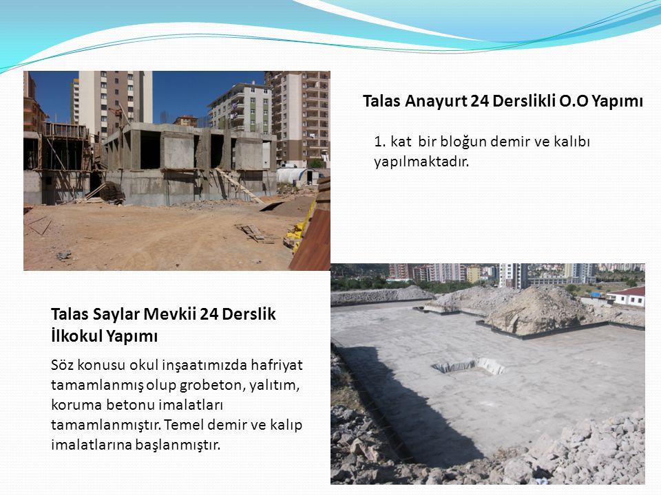 Talas Anayurt 24 Derslikli O.O Yapımı 1.kat bir bloğun demir ve kalıbı yapılmaktadır.