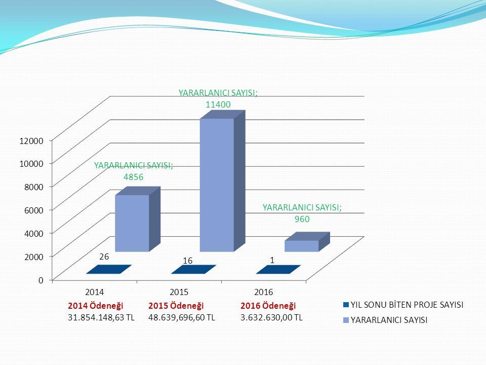 2014 Ödeneği 31.854.148,63 TL 2015 Ödeneği 48.639,696,60 TL 2016 Ödeneği 3.632.630,00 TL