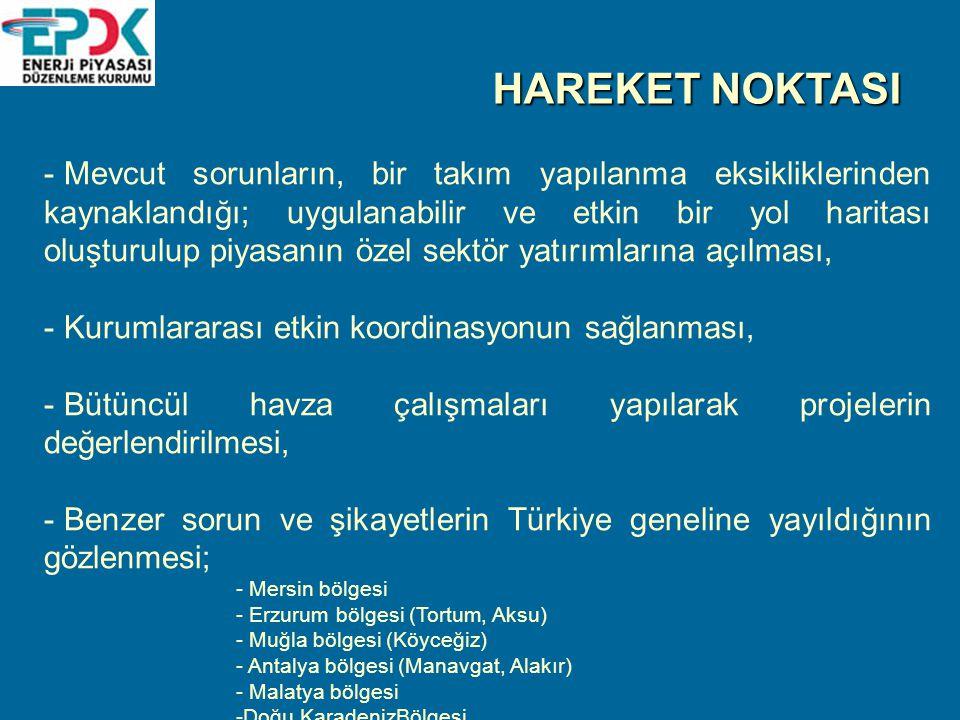HAREKET NOKTASI - Mevcut sorunların, bir takım yapılanma eksikliklerinden kaynaklandığı; uygulanabilir ve etkin bir yol haritası oluşturulup piyasanın özel sektör yatırımlarına açılması, - Kurumlararası etkin koordinasyonun sağlanması, - Bütüncül havza çalışmaları yapılarak projelerin değerlendirilmesi, - Benzer sorun ve şikayetlerin Türkiye geneline yayıldığının gözlenmesi; - Mersin bölgesi - Erzurum bölgesi (Tortum, Aksu) - Muğla bölgesi (Köyceğiz) - Antalya bölgesi (Manavgat, Alakır) - Malatya bölgesi -Doğu KaradenizBölgesi