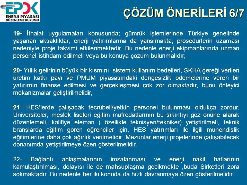 ÇÖZÜM ÖNERİLERİ 6/7 19- İthalat uygulamaları konusunda; gümrük işlemlerinde Türkiye genelinde yaşanan aksaklıklar, enerji yatırımlarına da yansımakta, prosedürlerin uzaması nedeniyle proje takvimi etkilenmektedir.