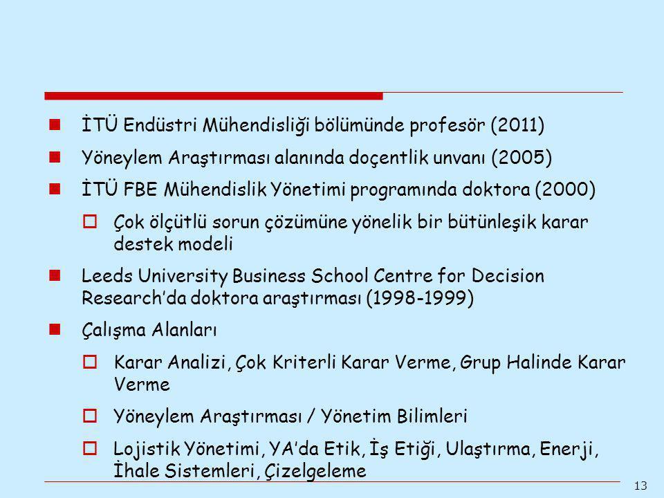 13 İTÜ Endüstri Mühendisliği bölümünde profesör (2011) Yöneylem Araştırması alanında doçentlik unvanı (2005) İTÜ FBE Mühendislik Yönetimi programında