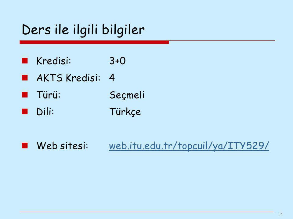 3 Kredisi: 3+0 AKTS Kredisi: 4 Türü: Seçmeli Dili: Türkçe Web sitesi: web.itu.edu.tr/topcuil/ya/ITY529/web.itu.edu.tr/topcuil/ya/ITY529/ Ders ile ilgi