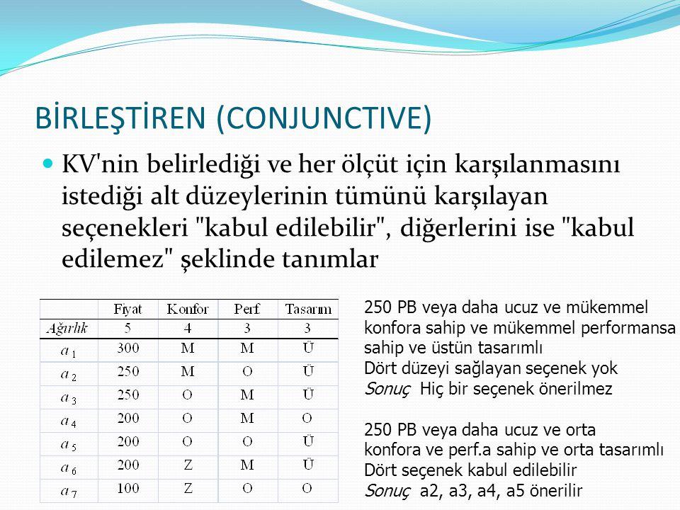 BİRLEŞTİREN (CONJUNCTIVE) KV'nin belirlediği ve her ölçüt için karşılanmasını istediği alt düzeylerinin tümünü karşılayan seçenekleri