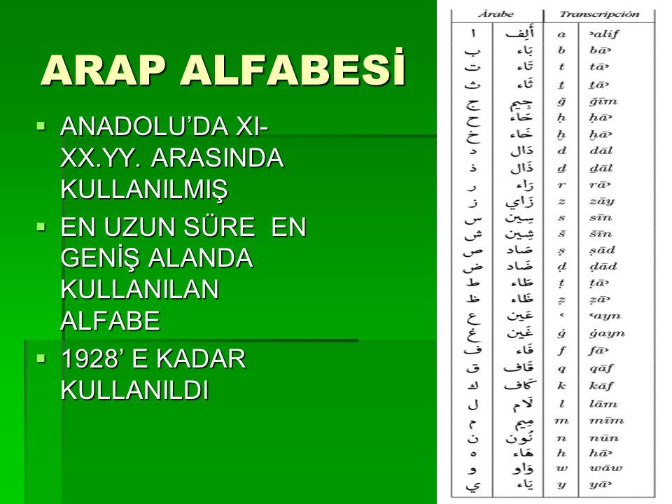 ARAP ALFABESİ  ANADOLU'DA XI- XX.YY. ARASINDA KULLANILMIŞ  EN UZUN SÜRE EN GENİŞ ALANDA KULLANILAN ALFABE  1928' E KADAR KULLANILDI