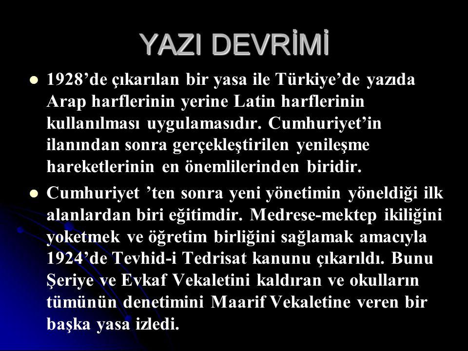YAZI DEVRİMİ 1928'de çıkarılan bir yasa ile Türkiye'de yazıda Arap harflerinin yerine Latin harflerinin kullanılması uygulamasıdır. Cumhuriyet'in ilan