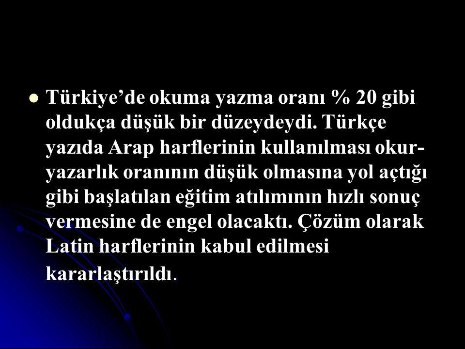 . Türkiye'de okuma yazma oranı % 20 gibi oldukça düşük bir düzeydeydi. Türkçe yazıda Arap harflerinin kullanılması okur- yazarlık oranının düşük olmas