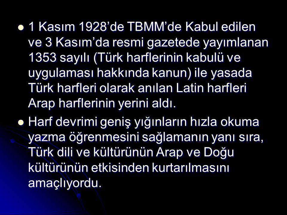 1 Kasım 1928'de TBMM'de Kabul edilen ve 3 Kasım'da resmi gazetede yayımlanan 1353 sayılı (Türk harflerinin kabulü ve uygulaması hakkında kanun) ile ya