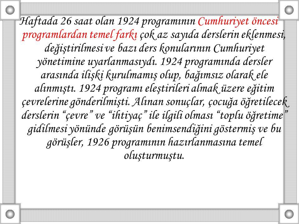 Haftada 26 saat olan 1924 programının Cumhuriyet öncesi programlardan temel farkı çok az sayıda derslerin eklenmesi, değiştirilmesi ve bazı ders konul
