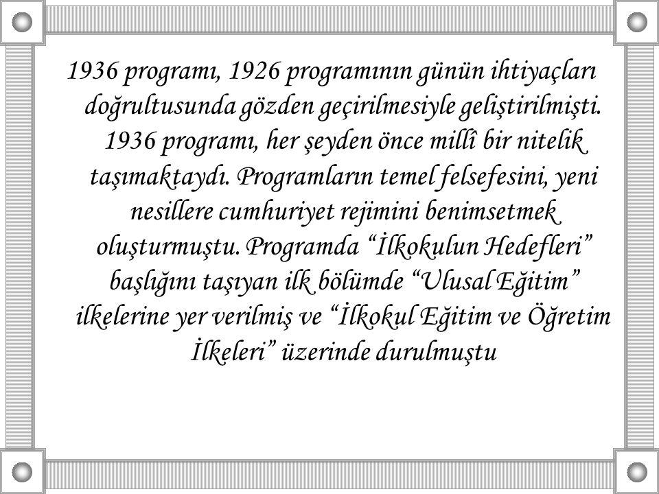 1936 programı, 1926 programının günün ihtiyaçları doğrultusunda gözden geçirilmesiyle geliştirilmişti. 1936 programı, her şeyden önce millî bir niteli