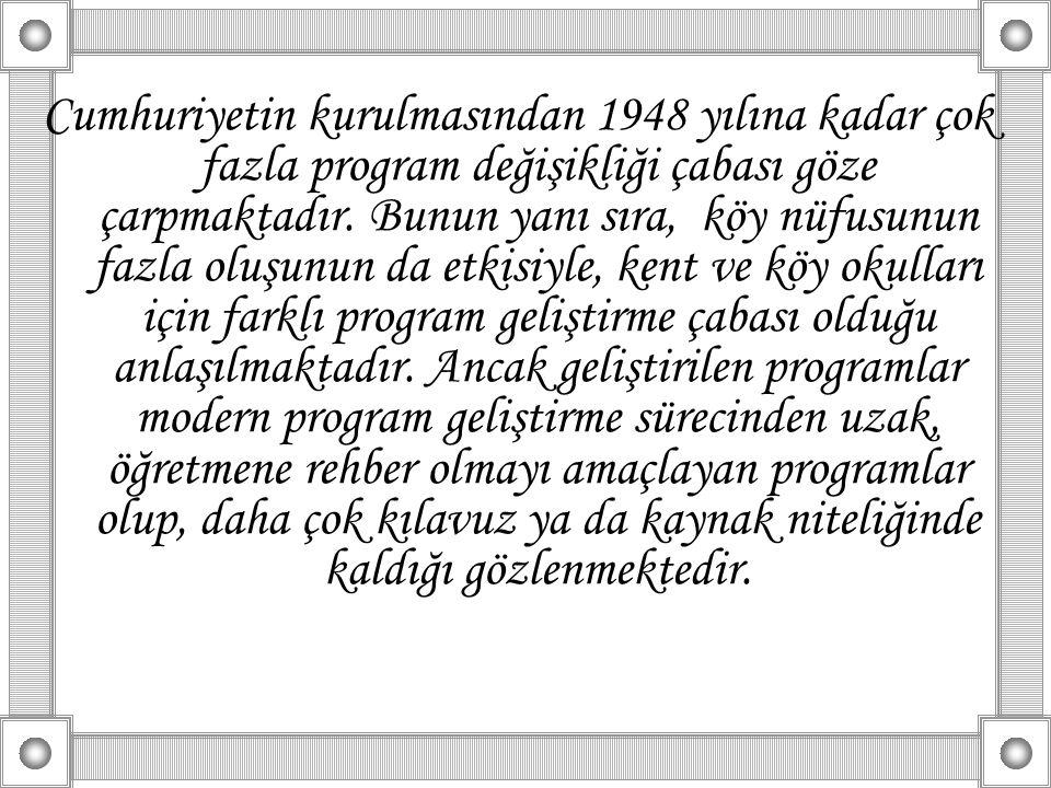Cumhuriyetin kurulmasından 1948 yılına kadar çok fazla program değişikliği çabası göze çarpmaktadır. Bunun yanı sıra, köy nüfusunun fazla oluşunun da