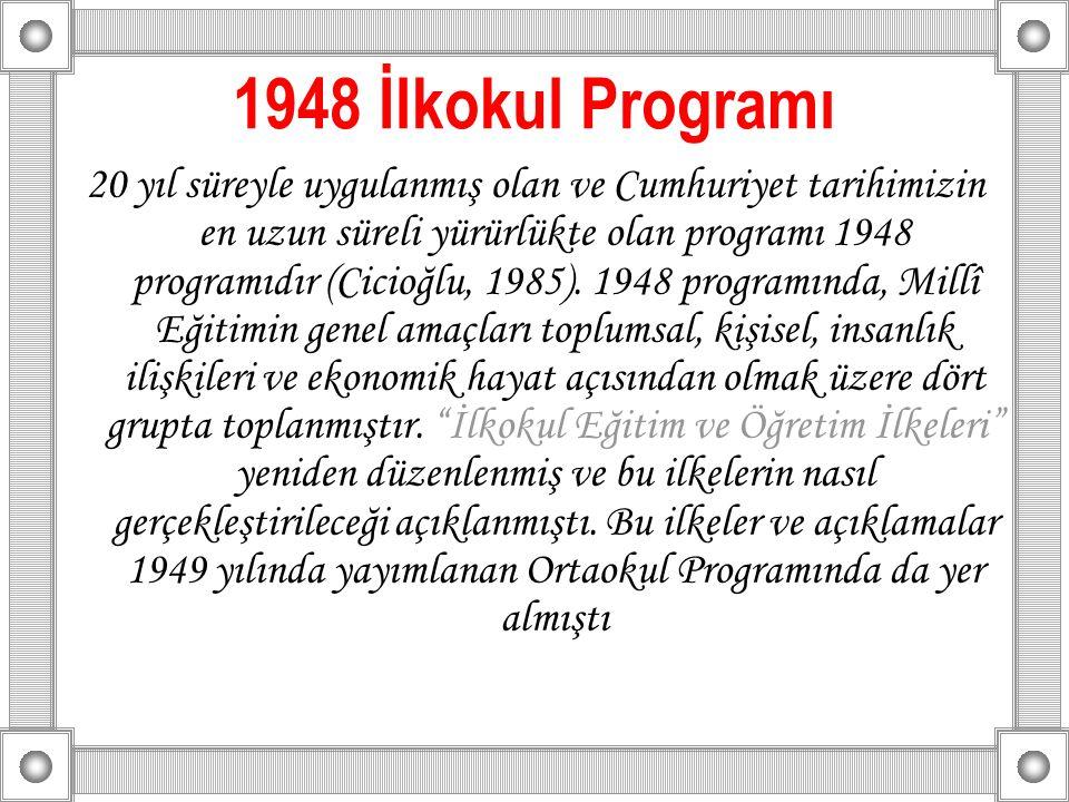 1948 İlkokul Programı 20 yıl süreyle uygulanmış olan ve Cumhuriyet tarihimizin en uzun süreli yürürlükte olan programı 1948 programıdır (Cicioğlu, 198