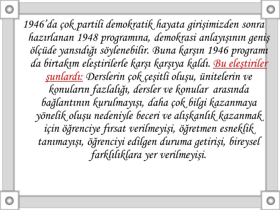 1946'da çok partili demokratik hayata girişimizden sonra hazırlanan 1948 programına, demokrasi anlayışının geniş ölçüde yansıdığı söylenebilir. Buna k