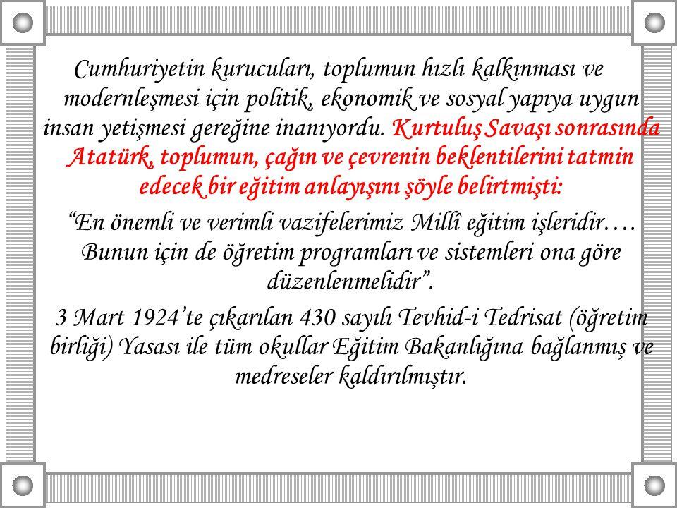 Cumhuriyet ilkelerine dayalı laik eğitim sistemi, 22 Mart 1926 tarihinde 789 sayılı Yasa ile örgütlendirilmiş ve bugünkü Talim ve Terbiye Kurulu, 22 Mart 1926 tarihinde kurulmuştur.