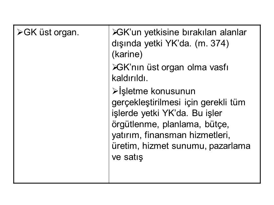  GK üst organ.  GK'un yetkisine bırakılan alanlar dışında yetki YK'da. (m. 374) (karine)  GK'nın üst organ olma vasfı kaldırıldı.  İşletme konusun