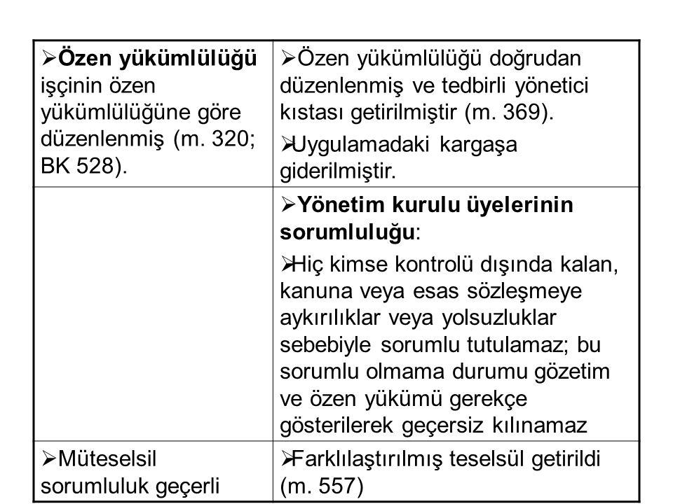 Özen yükümlülüğü işçinin özen yükümlülüğüne göre düzenlenmiş (m. 320; BK 528).  Özen yükümlülüğü doğrudan düzenlenmiş ve tedbirli yönetici kıstası