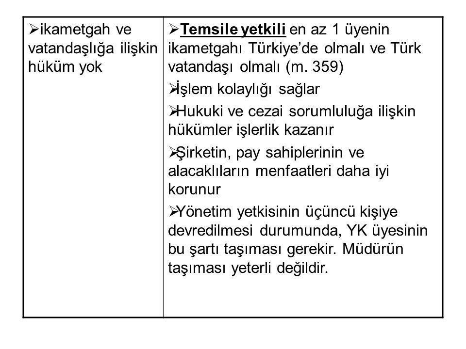  ikametgah ve vatandaşlığa ilişkin hüküm yok  Temsile yetkili en az 1 üyenin ikametgahı Türkiye'de olmalı ve Türk vatandaşı olmalı (m. 359)  İşlem