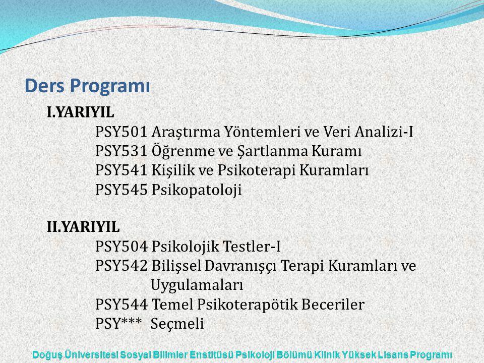 Ders Programı I.YARIYIL PSY501 Araştırma Yöntemleri ve Veri Analizi-I PSY531 Öğrenme ve Şartlanma Kuramı PSY541 Kişilik ve Psikoterapi Kuramları PSY54