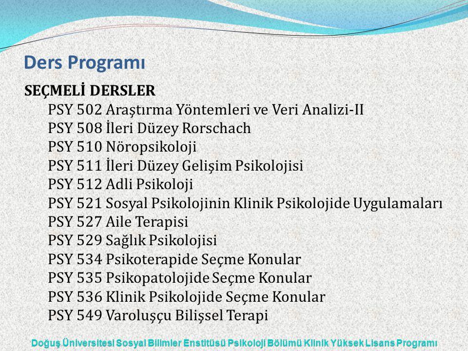 Ders Programı SEÇMELİ DERSLER PSY 502 Araştırma Yöntemleri ve Veri Analizi-II PSY 508 İleri Düzey Rorschach PSY 510 Nöropsikoloji PSY 511 İleri Düzey
