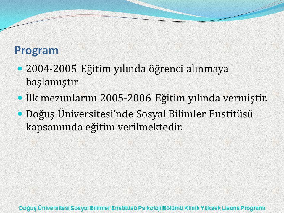 Program — 2004-2005 Eğitim yılında öğrenci alınmaya başlamıştır — İlk mezunlarını 2005-2006 Eğitim yılında vermiştir. — Doğuş Üniversitesi'nde Sosyal