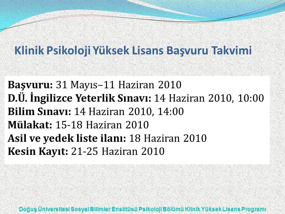 Klinik Psikoloji Yüksek Lisans Başvuru Takvimi Başvuru: 31 Mayıs–11 Haziran 2010 D.Ü. İngilizce Yeterlik Sınavı: 14 Haziran 2010, 10:00 Bilim Sınavı: