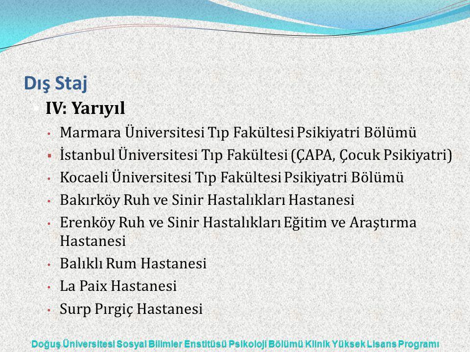 Dış Staj  IV: Yarıyıl Marmara Üniversitesi Tıp Fakültesi Psikiyatri Bölümü  İstanbul Üniversitesi Tıp Fakültesi (ÇAPA, Çocuk Psikiyatri) Kocaeli Üni