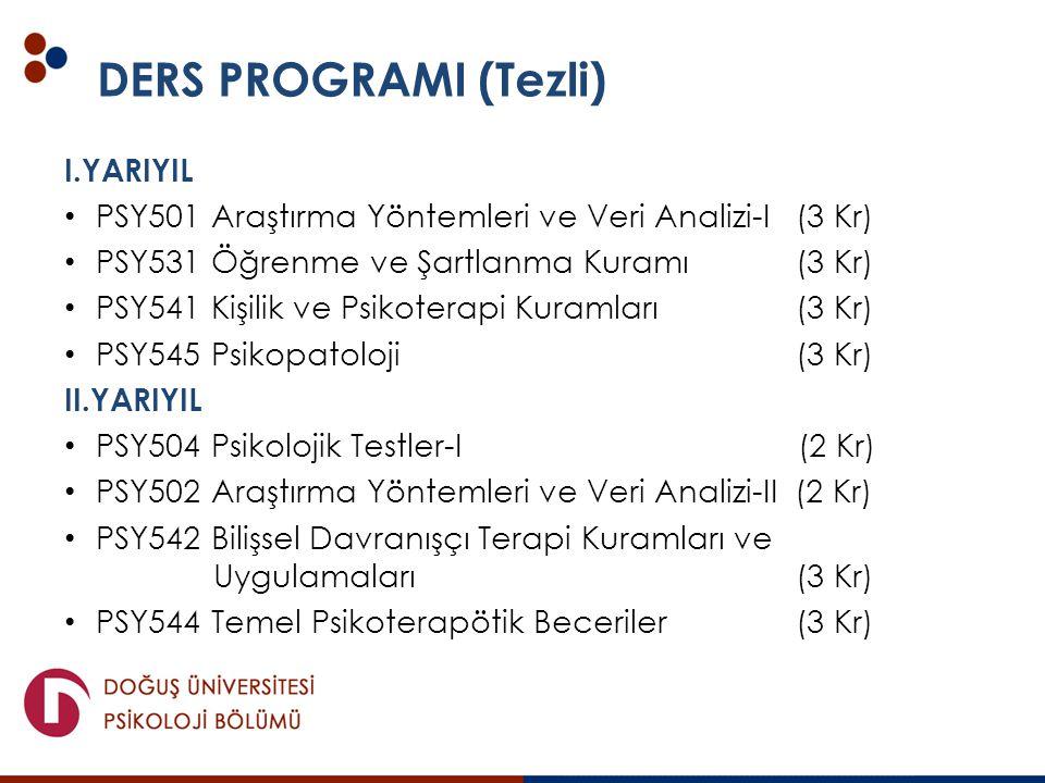 DERS PROGRAMI (Tezli) I.YARIYIL PSY501 Araştırma Yöntemleri ve Veri Analizi-I (3 Kr) PSY531 Öğrenme ve Şartlanma Kuramı (3 Kr) PSY541 Kişilik ve Psiko