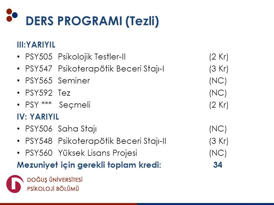 DERS PROGRAMI (Tezli) III:YARIYIL PSY505 Psikolojik Testler-II (2 Kr) PSY547 Psikoterapötik Beceri Stajı-I (3 Kr) PSY565 Seminer (NC) PSY592 Tez(NC) P