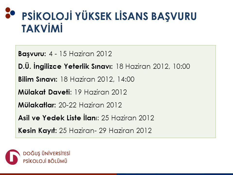 Başvuru: 4 - 15 Haziran 2012 D.Ü. İngilizce Yeterlik Sınavı: 18 Haziran 2012, 10:00 Bilim Sınavı: 18 Haziran 2012, 14:00 Mülakat Daveti : 19 Haziran 2