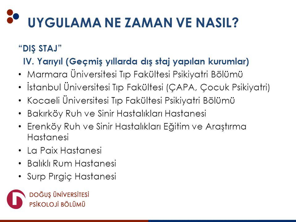 """UYGULAMA NE ZAMAN VE NASIL? """"DIŞ STAJ"""" IV. Yarıyıl (Geçmiş yıllarda dış staj yapılan kurumlar) Marmara Üniversitesi Tıp Fakültesi Psikiyatri Bölümü İs"""