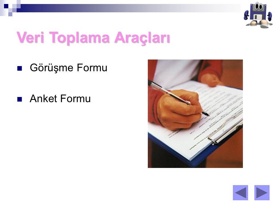Veri Toplama Araçları Görüşme Formu Anket Formu