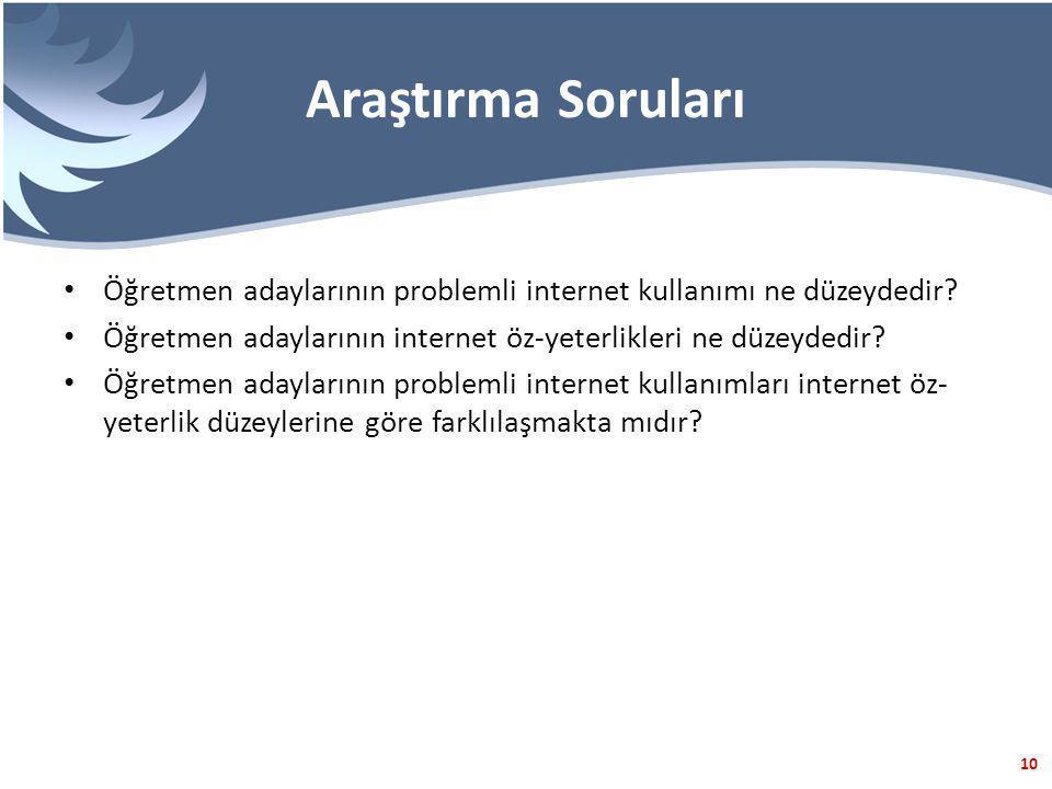 10 Araştırma Soruları Öğretmen adaylarının problemli internet kullanımı ne düzeydedir.
