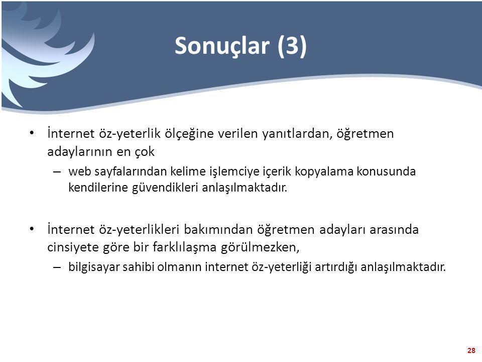 28 Sonuçlar (3) İnternet öz-yeterlik ölçeğine verilen yanıtlardan, öğretmen adaylarının en çok – web sayfalarından kelime işlemciye içerik kopyalama konusunda kendilerine güvendikleri anlaşılmaktadır.