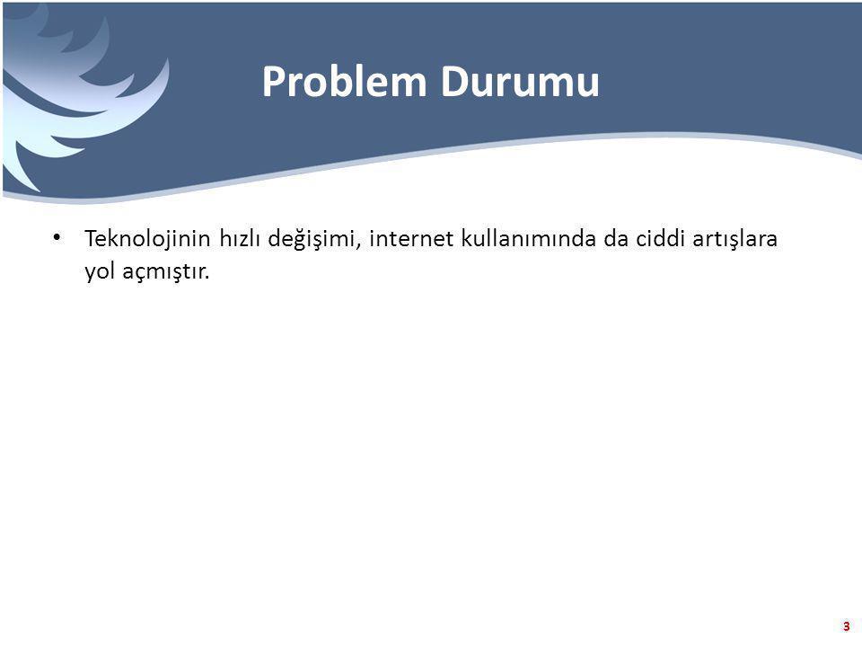 3 Problem Durumu Teknolojinin hızlı değişimi, internet kullanımında da ciddi artışlara yol açmıştır.