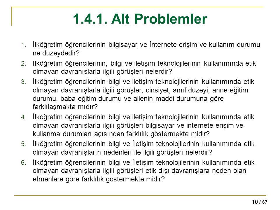 10 / 67 1.4.1. Alt Problemler 1. İlköğretim öğrencilerinin bilgisayar ve İnternete erişim ve kullanım durumu ne düzeydedir? 2. İlköğretim öğrencilerin