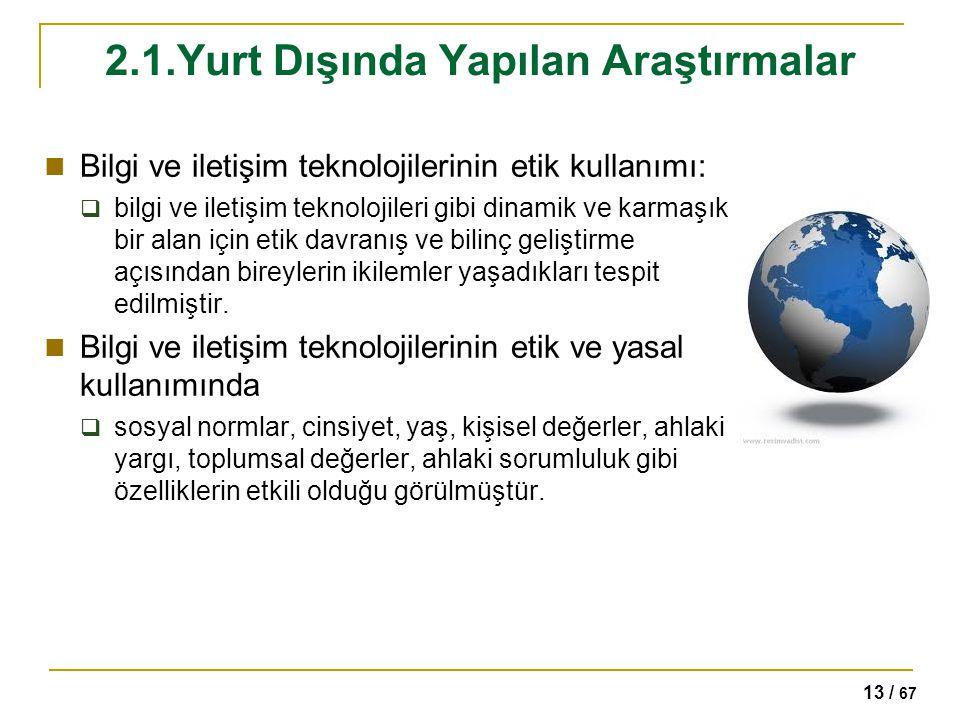 13 / 67 2.1.Yurt Dışında Yapılan Araştırmalar Bilgi ve iletişim teknolojilerinin etik kullanımı:  bilgi ve iletişim teknolojileri gibi dinamik ve kar