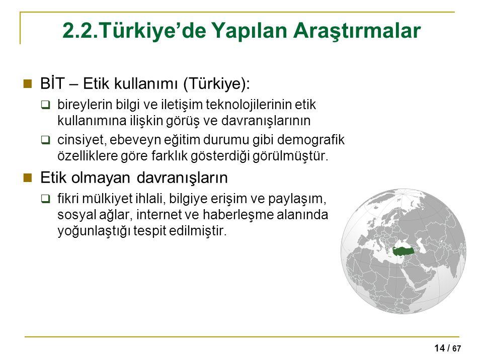 14 / 67 2.2.Türkiye'de Yapılan Araştırmalar BİT – Etik kullanımı (Türkiye):  bireylerin bilgi ve iletişim teknolojilerinin etik kullanımına ilişkin g
