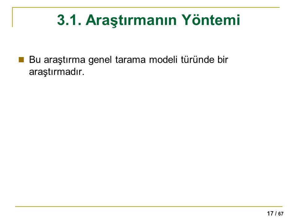 17 / 67 3.1. Araştırmanın Yöntemi Bu araştırma genel tarama modeli türünde bir araştırmadır.
