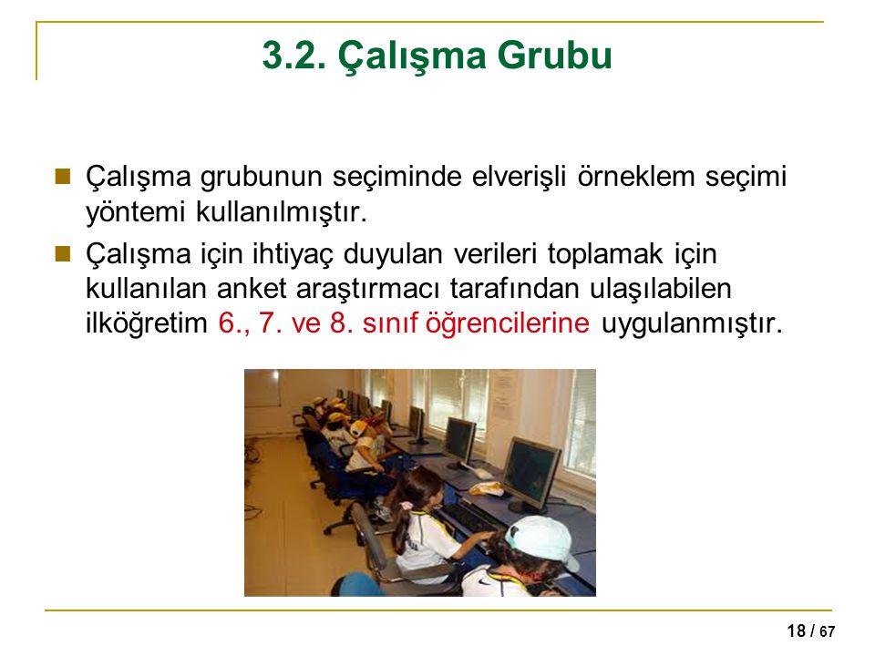 18 / 67 3.2. Çalışma Grubu Çalışma grubunun seçiminde elverişli örneklem seçimi yöntemi kullanılmıştır. Çalışma için ihtiyaç duyulan verileri toplamak