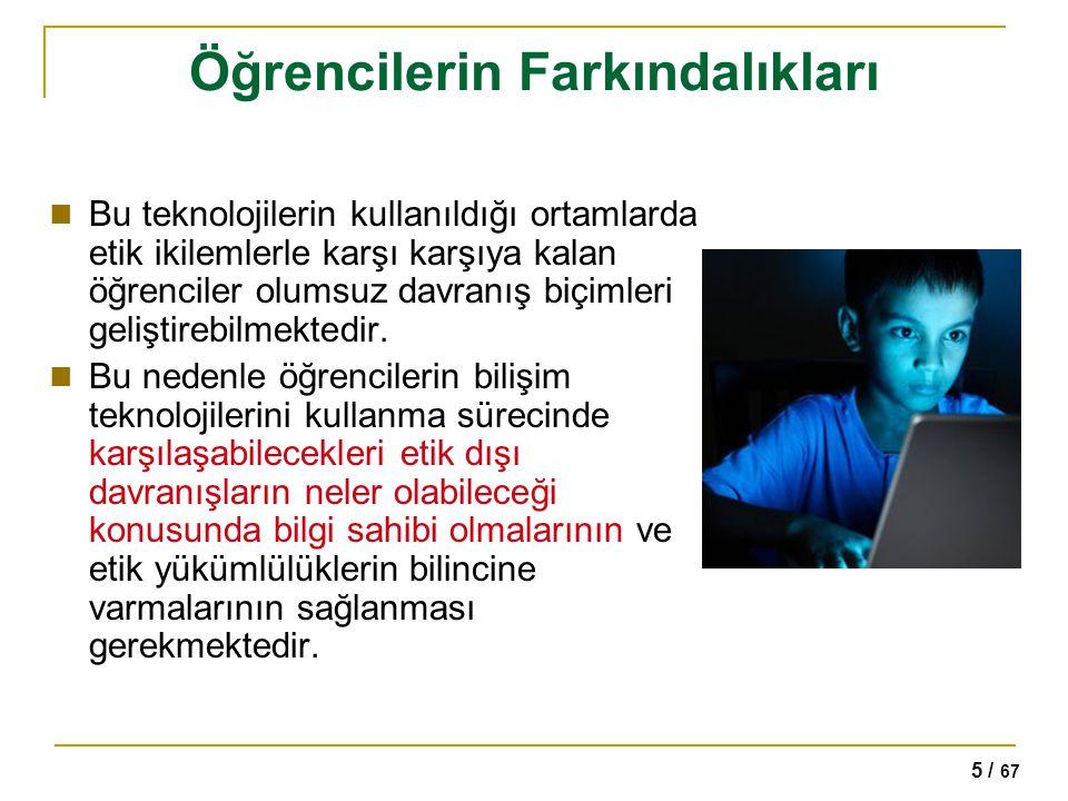 5 / 67 Öğrencilerin Farkındalıkları Bu teknolojilerin kullanıldığı ortamlarda etik ikilemlerle karşı karşıya kalan öğrenciler olumsuz davranış biçimle