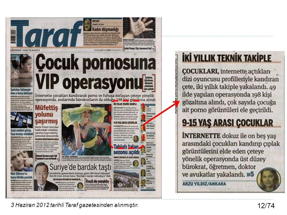 12/74 3 Haziran 2012 tarihli Taraf gazetesinden alınmıştır.