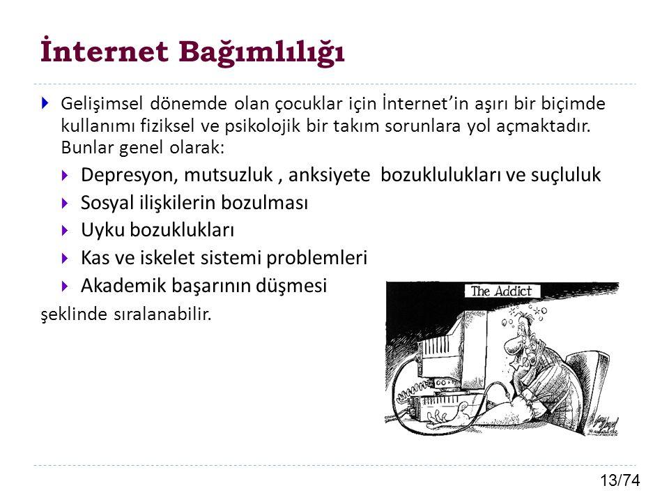 13/74 İnternet Bağımlılığı  Gelişimsel dönemde olan çocuklar için İnternet'in aşırı bir biçimde kullanımı fiziksel ve psikolojik bir takım sorunlara