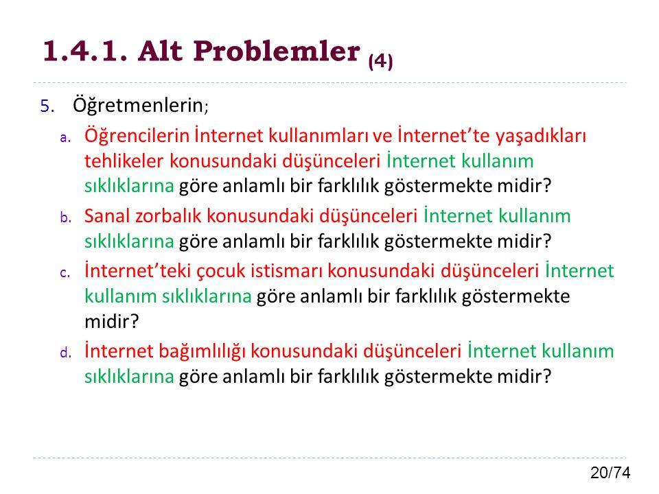 20/74 1.4.1. Alt Problemler (4) 5. Öğretmenlerin ; a. Öğrencilerin İnternet kullanımları ve İnternet'te yaşadıkları tehlikeler konusundaki düşünceleri
