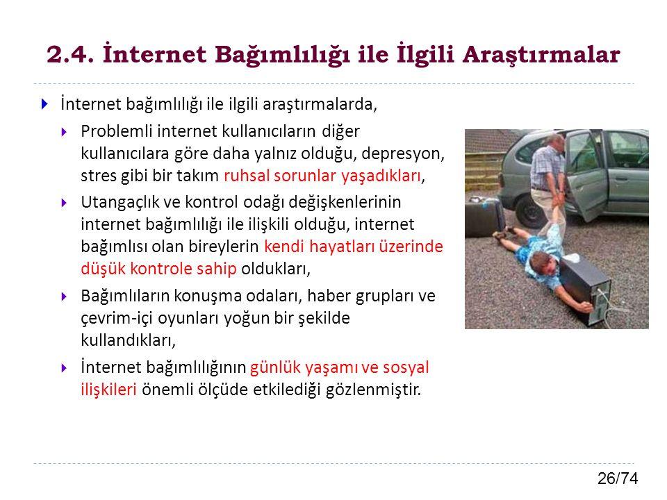 26/74 2.4. İnternet Bağımlılığı ile İlgili Araştırmalar  İnternet bağımlılığı ile ilgili araştırmalarda,  Problemli internet kullanıcıların diğer ku