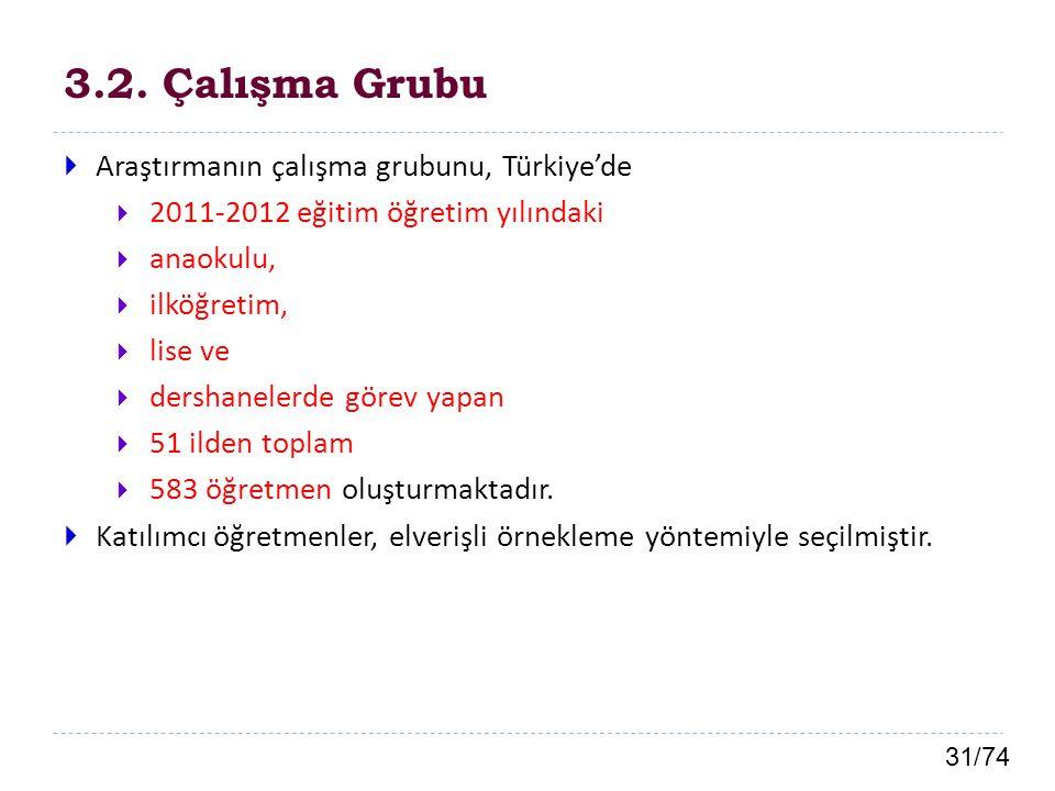 31/74 3.2. Çalışma Grubu  Araştırmanın çalışma grubunu, Türkiye'de  2011-2012 eğitim öğretim yılındaki  anaokulu,  ilköğretim,  lise ve  dershan