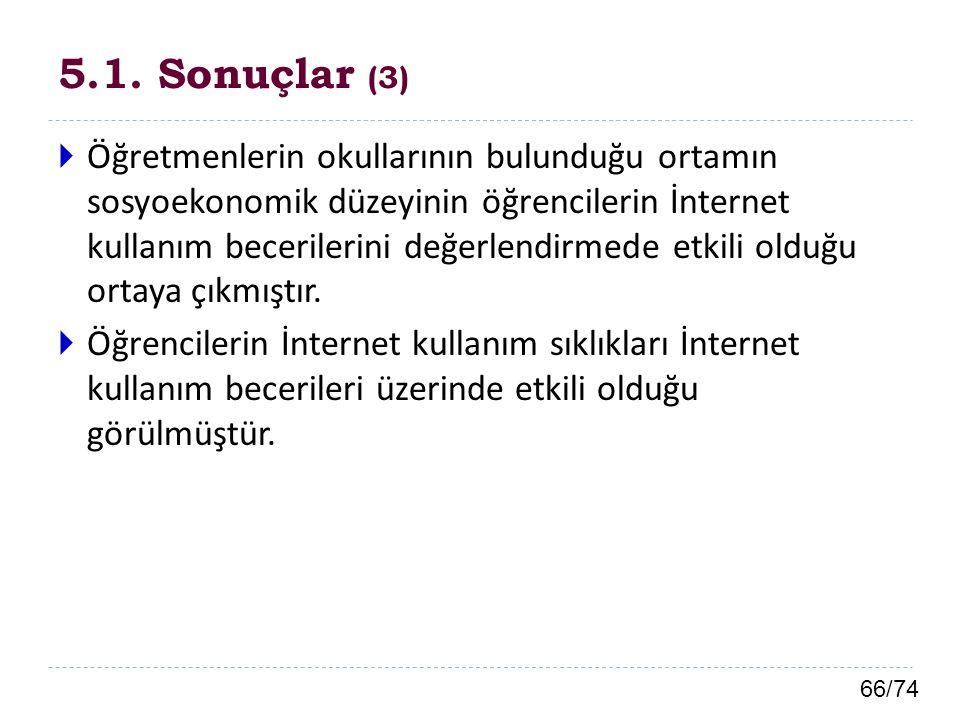 66/74 5.1. Sonuçlar (3)  Öğretmenlerin okullarının bulunduğu ortamın sosyoekonomik düzeyinin öğrencilerin İnternet kullanım becerilerini değerlendirm