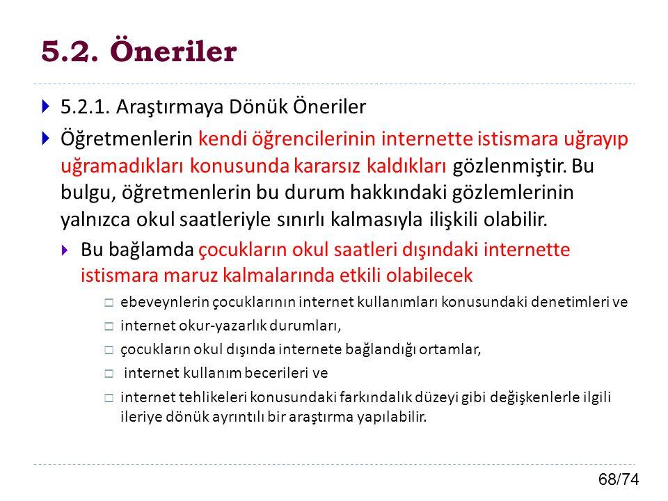 68/74 5.2. Öneriler  5.2.1. Araştırmaya Dönük Öneriler  Öğretmenlerin kendi öğrencilerinin internette istismara uğrayıp uğramadıkları konusunda kara