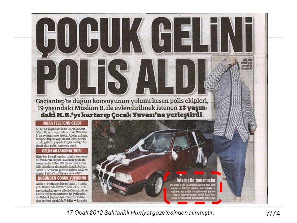 7/74 17 Ocak 2012 Salı tarihli Hürriyet gazetesinden alınmıştır.