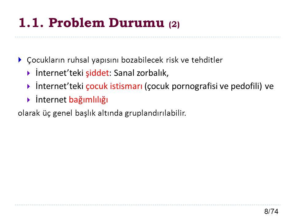 19/74 1.4.1.Alt Problemler (3) 4. Öğretmenlerin ; a.