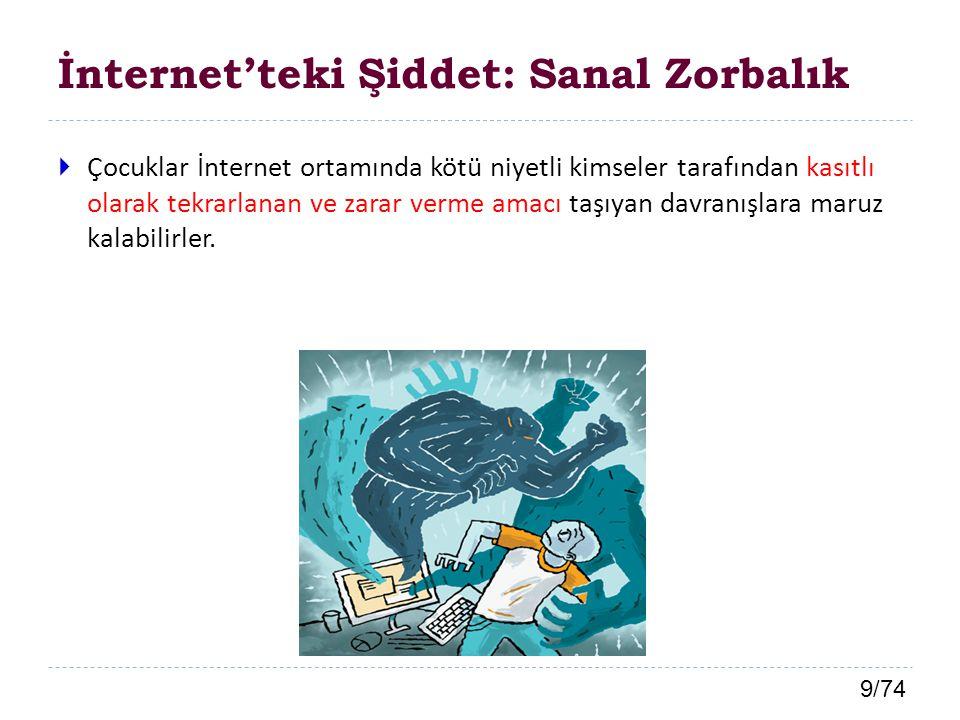 9/74 İnternet'teki Şiddet: Sanal Zorbalık  Çocuklar İnternet ortamında kötü niyetli kimseler tarafından kasıtlı olarak tekrarlanan ve zarar verme ama